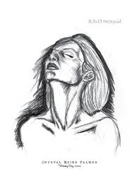 charcoal pencil drawing of woman with head tilted back 5x7