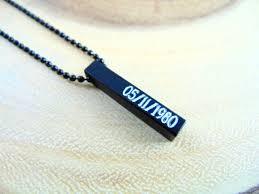Necklace Monogram Vertical Bar Necklace Monogram Pendant Unisex Black Necklace