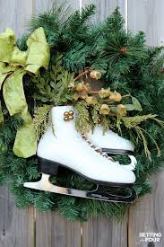 diy ice skate wreath decor quick and easy setting for four
