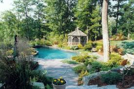 pool garden ideas backyard pool landscaping ideas with plants and trees and gazebo