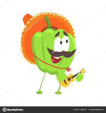 cartoon sombrero funny cartoon green pepper character wearing sombrero hat playing