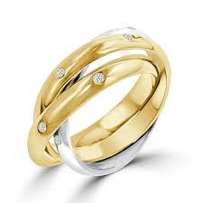 three ring wedding set ring twotone cartier style rolling wedding set