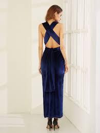 high slit velvet convertible dress shein sheinside
