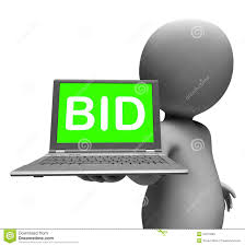 bid auction bid laptop character shows bids bidding or auction stock