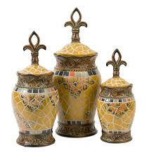 tuscan kitchen canisters sets gold yellow fleur de lis spanish tile canisters set of 3 кухня