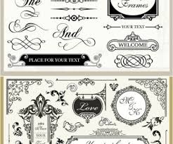 vintage wedding ornaments vector design vintage