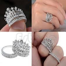 crown wedding rings retro women white sapphire gem silver crown wedding band ring