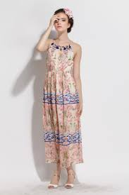 summer spaghetti straps new bohemia cheap maxi dress for