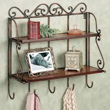 Decorative Wall Shelves For Bathroom Brown Carving Wrought Wall Shelves With Brown Racks