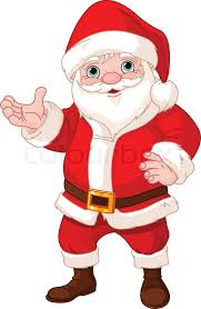 santa claus showing to copy space stock vector colourbox