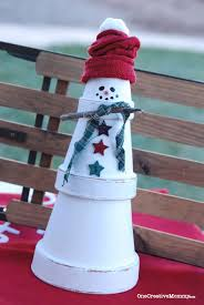 quick and easy terra cotta snowman craft onecreativemommy com