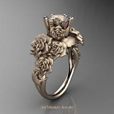 leaf and vine engagement ring nature inspired 14k gold 1 0 ct chagne