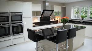 contemporary hi gloss white kitchen with black granite designed