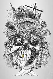 drawn pirate sick pencil and in color drawn pirate sick