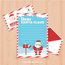 dear santa claus letter template in flat design vector free download