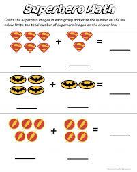 superhero math kindergarten addition worksheet printables free 819