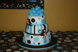 blue and brown sport monkey baby shower cake lolo u0027s cakes u0026 sweets