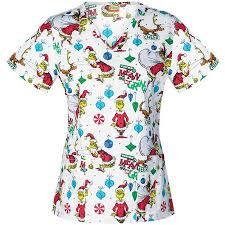 Thanksgiving Scrub Tops Dr Suess Women U0027s Fashion Collection Mr Grinch V Neck Scrub Top
