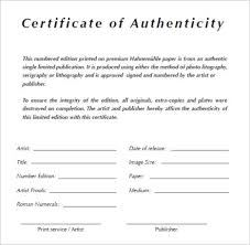 free certificate of authenticity template in word archives