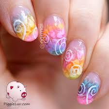 piggieluv sheer tints swirls easy nail art