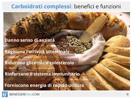glucidi alimenti complessi quali sono funzioni ed elenco degli alimenti