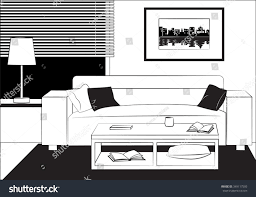 Couch Drawing Outline Drawing Interior Living Room Sofa Stock Vector 349117505