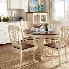 White Dining Room Set Mackenzie Country Style Two Tone Round Scroll Back Dining Set By