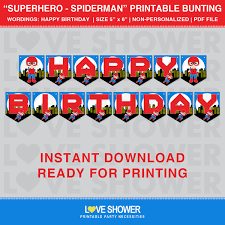 Printable Flags Superhero Spiderman Printable Flag Banner Happy Birthday