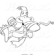 vector of a cartoon duck with tape outlined coloring page by