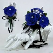 royal blue corsage and boutonniere royal blue silk on royal blue prom corsage