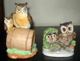 home interior collectibles owl figurines collectibles 2 vintage owls with baby owls porcelain