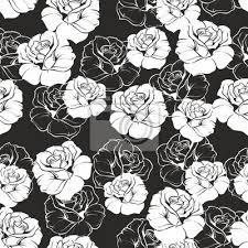 imagenes blancas en fondo negro seamless vector patrón floral de rosas blancas sobre fondo negro