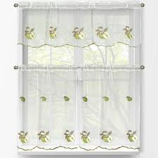 window elements sheer green apple embroidered 3 piece kitchen