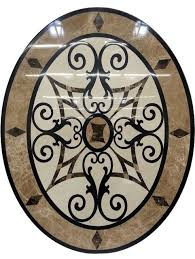 waterjet oval floor medallion made with marble and granite