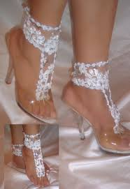 barefoot sandals for wedding pair of white flower barefoot sandal ankle glams wedding sandals