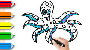 coloring pages octopus drawing u0026 colouring for kids w colored