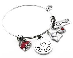 name charm bracelet heart bangle valentines bracelet with enameled heart in choice