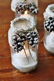 Pinecone Winter Luminaries Snowy Pinecone Candle Jars