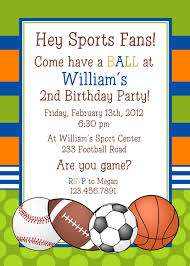 template free sports balls birthday invitations with speach high