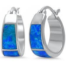 amazon com bamos jewelry womens amazon com lab created blue fire opal hoop 925 sterling silver