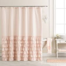 Ruffled Shower Curtains Lc Conrad Ella Ruffle Fabric Shower Curtain