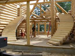 Log Home Interiors Beautiful Curved Log Staircase Caribou Creek Log Homes Cool Log