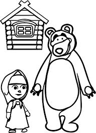 mawa kawa masha and bear home coloring page wecoloringpage