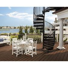 White Plastic Dining Chairs by Shop Trex Outdoor Furniture Monterey Bay 5 Piece Classic White