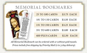 memorial bookmarks price list for memorial prayer cards