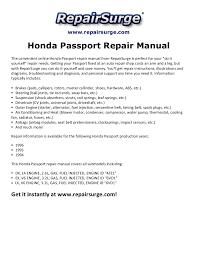 Front Desk Manual Honda Passport Repair Manual 1994 1996
