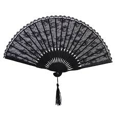 black lace fan folded handcuffs made from lace fan of lace