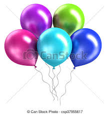 Three rendering shiny balloons on white background 3d rendering