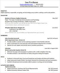 College Freshman Resume Examples by College Resume Sample 8 Examples In Word Pdf