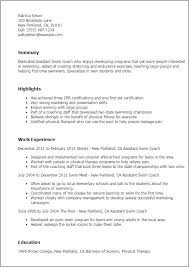 Career Coach Resume Sample by Professional Assistant Swim Coach Templates To Showcase Your